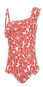 IRELIA Girls One Piece Swimsuit Swimwear Bathing Suits One Shoulder Ruffle