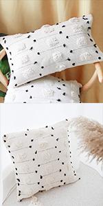 tribal tassels throw lumbar pillow cover fringe boho morocco long pillowcase cream beige white