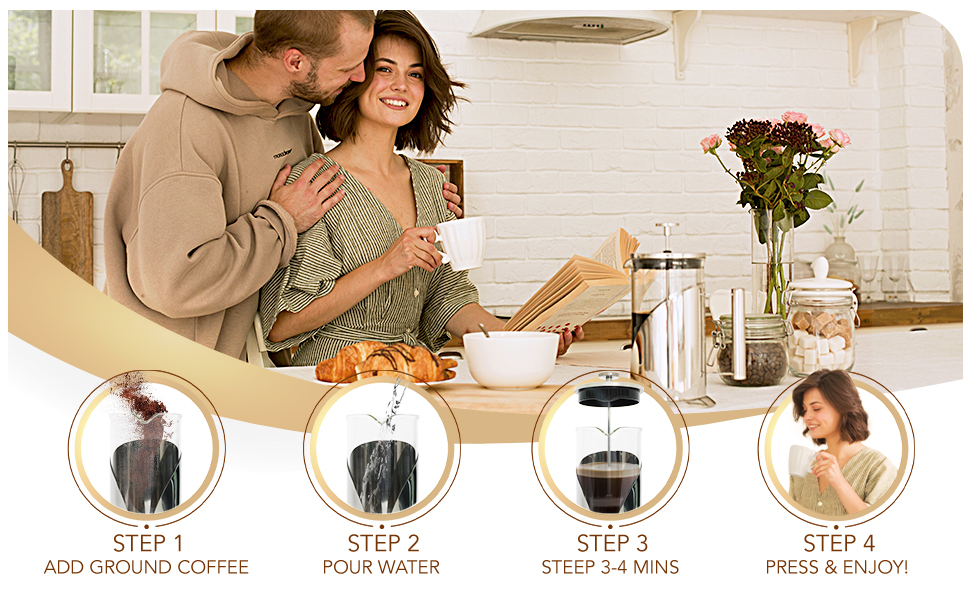 Cafe du Chateau French Press - Coffee Guide For Easy Making of The Perfect Coffee Brew