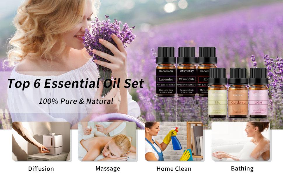 Gardenia, Lily, Lotus, Lavender, Jasmine, Rose essential oil