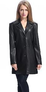 BGSD Women's Danielle Lambskin Leather Walking Coat