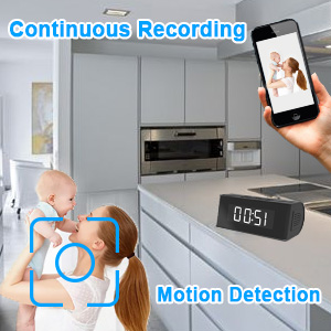 Motion activated hidden camera clock