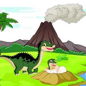 Cartoon Dinosaur Volcano