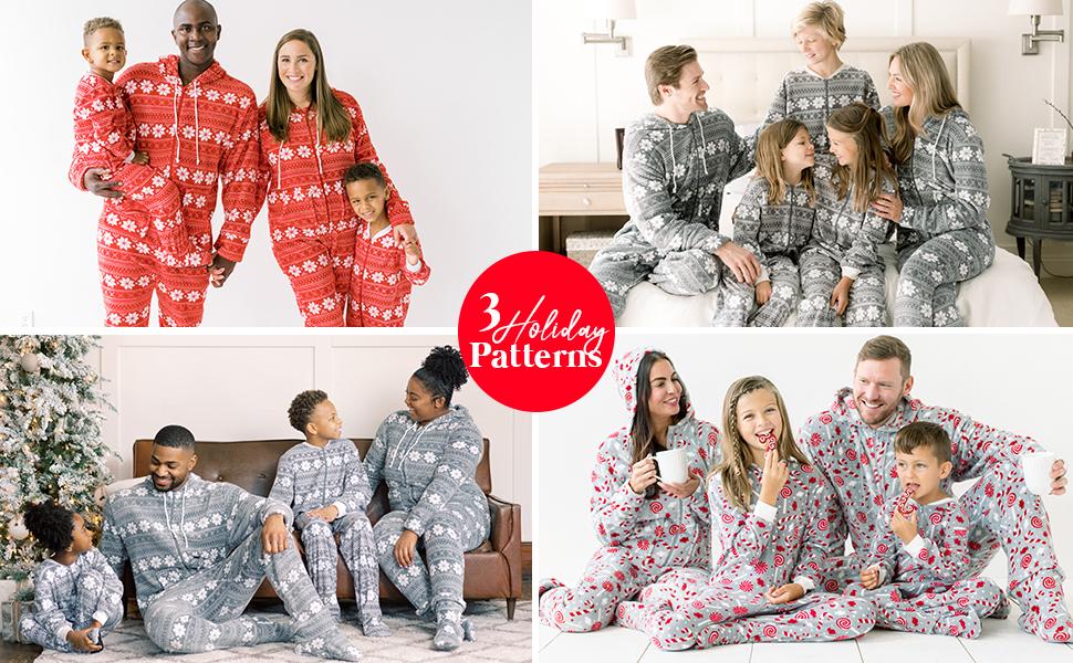 Red and grey snowflake pajamas close up