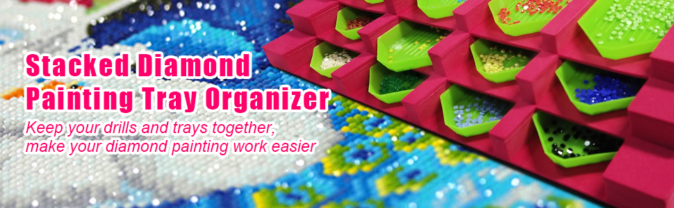 stacked diamond painting tray organizer keep drills and trays together, make diamond painting easier