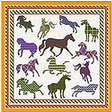 petit carre de soie motif cheval chic cadeau couleur jaune