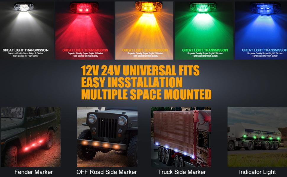 6x 12//24V 6 LED SIDE REAR FRONT CHROME MARKER AMBER ORANGE LIGHT LAMP TRAILER HORSEBOX VAN
