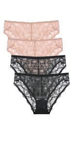 WingsLove 4 Pack Women's Sexy Floral Lace Panties High Cut Plus Size Stretch Bikini Seamless Briefs