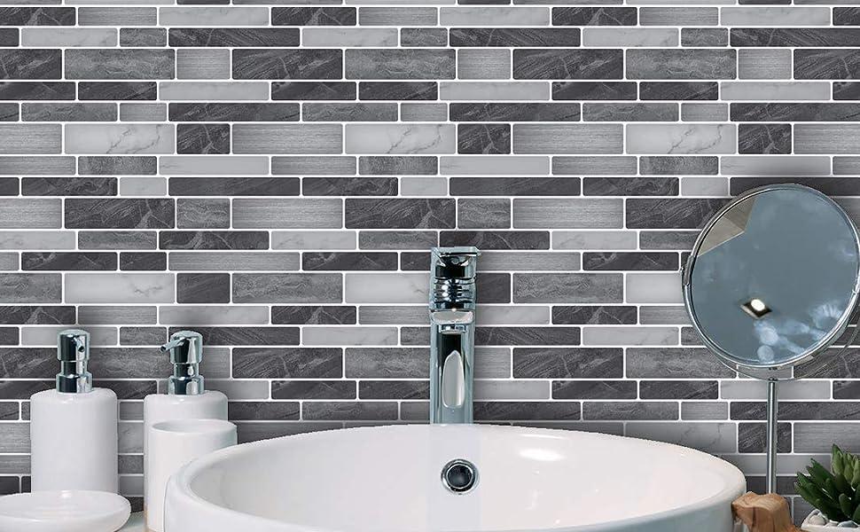 Amazon Com Art3d 10 Sheet Self Adhesive Tile Backsplash For Kitchen Vinyl Decorative Tiles 12 X12 Home Improvement
