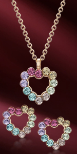 Pendant Necklace and Stud Earrings  Set for Women - Heart-Shaped Swarovski Crystals