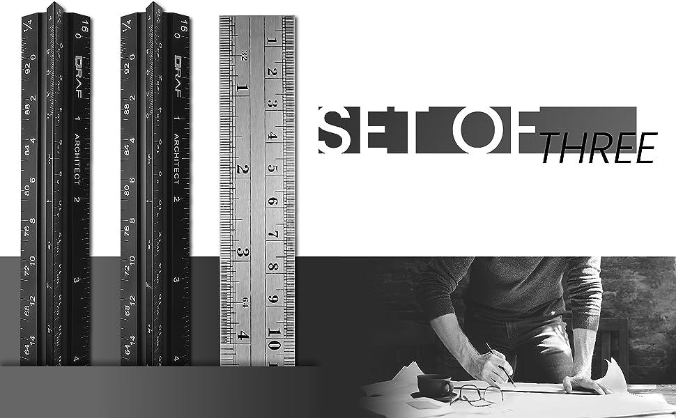 Straight edge ruler set architectural standard metal 12 inch triangular drafting blueprint