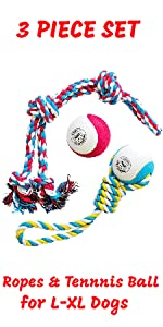 dog tennis ball XL tennis ball extra large dog rope with ball chew toy tug of war pacific pups toys