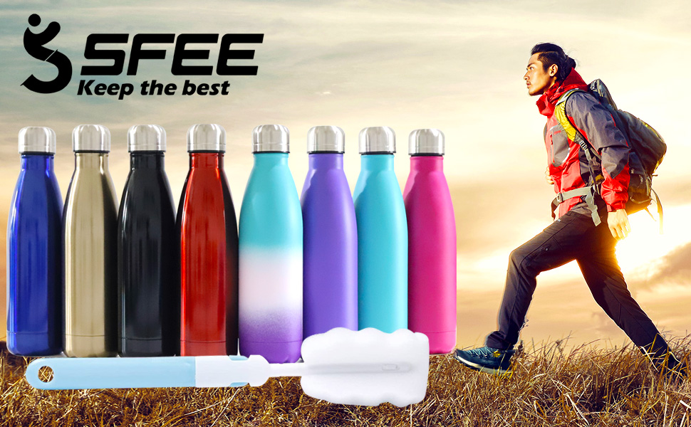 Ace Travel Buddy Stainless steel water bottle double wall vacuum insulated perfect camping festival hiking backpacking metal flask