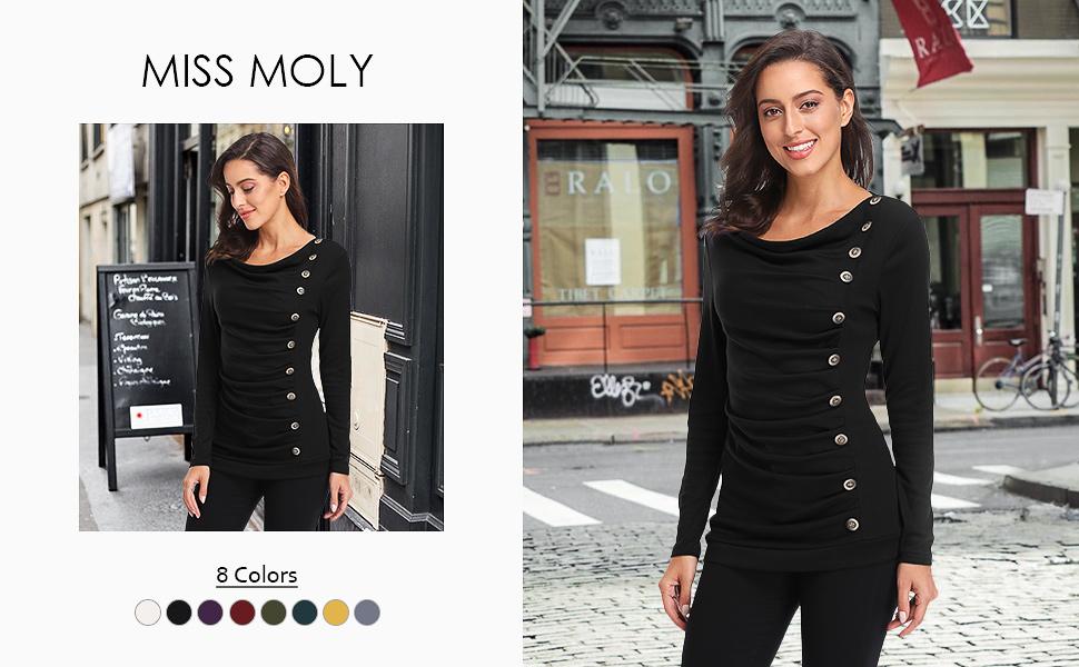 MISS MOLY Damen Langarmshirt Pullover mit Kn/öpfen