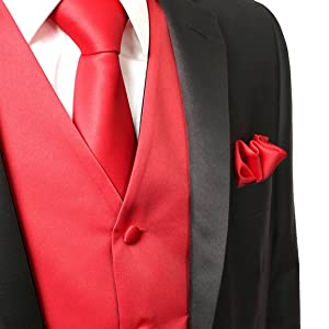 Men/'s Solid Red Polyester Vest with Self Tie 1.5 Necktie and Handkerchief for Formal Occasions