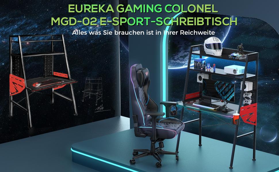 Eureka Ergonomic Gaming Schreibtisch M43 Gaming Tisch Mit Rgb Beleuchtung Multifunktionaler Gamer Tisch Groß 110 60 159 Cm Schwarz Küche Haushalt