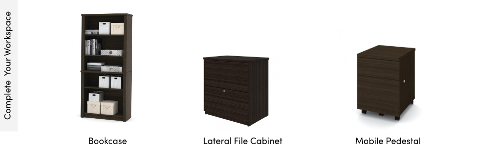 Bookcase, lateral file cabinet, and a mobile pedestal to complete your office workspace