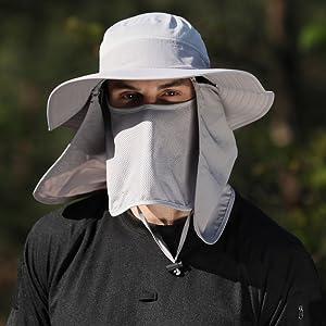 Sun Cap Wide Brim Neck Face Flap Hat for Men amp; Women