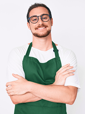 thick polyester dark green apron