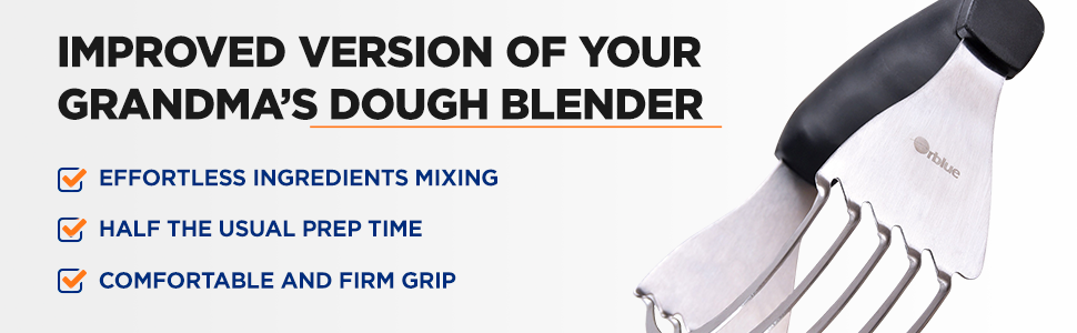 Orblue Dough Blender Stainless Steel Pastry Cutter bakes baker pizza dough, pastries, pies biscuits