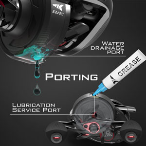 KastKing Speed Demon Elite baitcaster fishing reel drain and lubrication ports