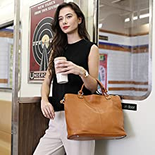Kattee Women's Shoulder Bag, Genuine Leather, 4-Way Tote Bag, A4, Commuting to Work, Leather, Handbag, Compatible with 14 inches, PC A4 inches, Large Capacity, Genuine Leather, Handbag, Crossbody Wear, Casual Strap