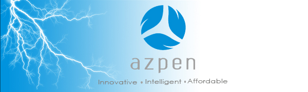Azpen Innovation Logo With Lightning behind it