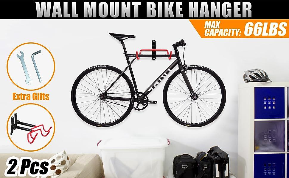 2pcs Steel Bicycle Storage Wall Mount Rack Cycle Bike Display Hanger Secure Hook
