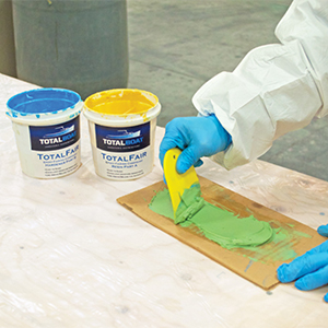 TotalBoat TotalFair Epoxy Fairing Compound mix until a solid green color for best results.