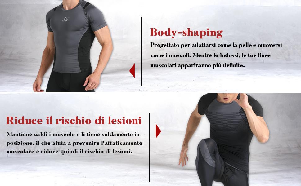 AMZSPORT Maglia a Manica Corta Compression da Uomo Sport