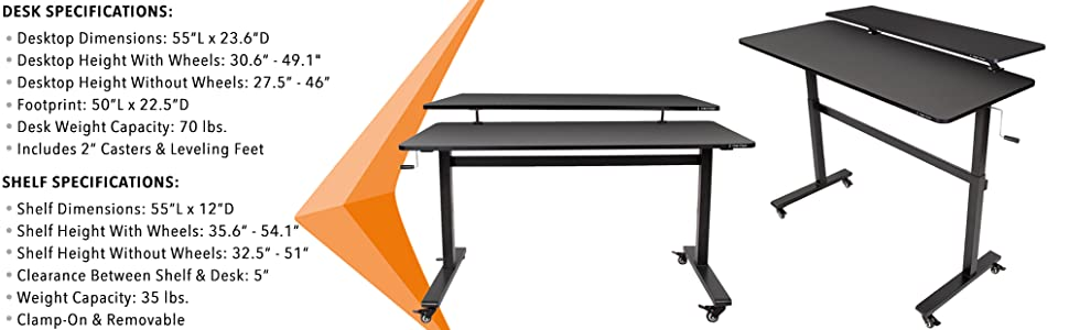 Stand Steady Mobile Tranzendesk Wheels Rolling Sit Stand Up Desk Office Workstation Office Shelf