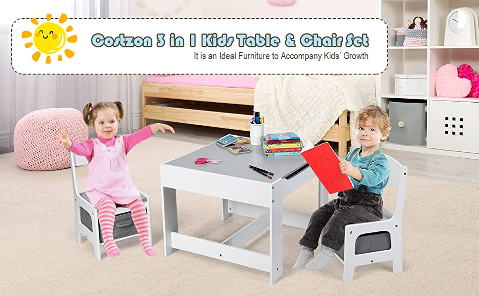 kids table and 2 chair set - Costzon 3 In 1 Kids Wood Table & 2 Chair Set, Children Activity Table Desk Sets W/Storage Drawer, Detachable Blackboard For Toddlers Drawing Reading Art Playroom, 3-Piece Kiddy-Sized Furniture (Gray)