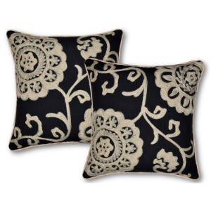 Cotton Duck Set of 2 Embroidered Matte Black/Beige Throw Pillow Covers