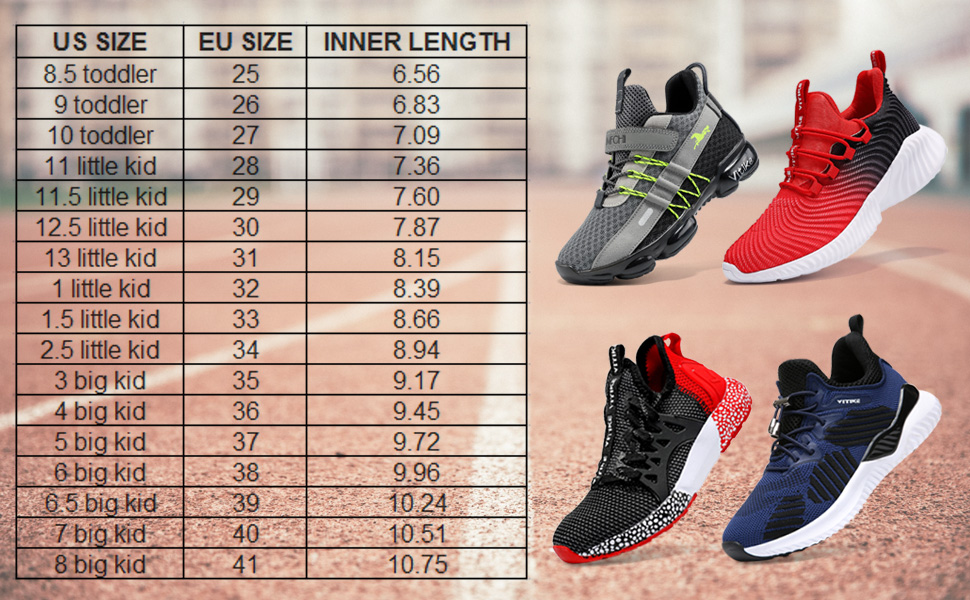 kids shoes boys running shoes size chart