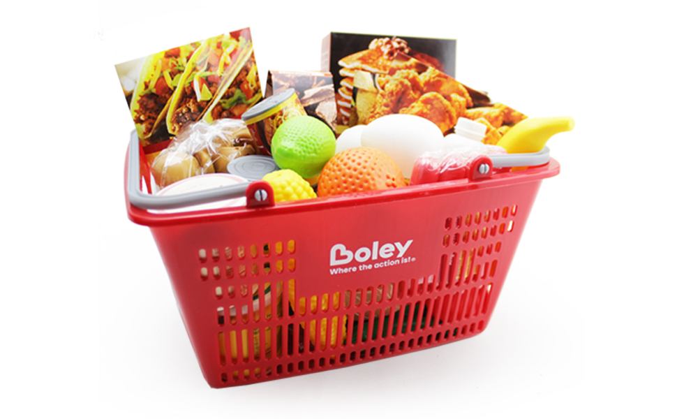 supermarket playset with red basket and play food