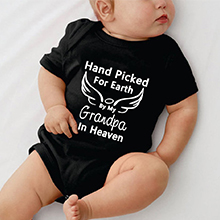 Baby Romper Hand Picked for Earth by My Grandpa/Grandma in Heaven Baby Boys Girls Bodysuit