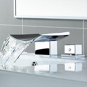 Waterfall Widespread Bathroom Vanity Sink Faucet