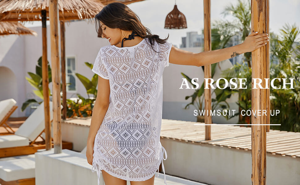 AS ROSE RICH WHITE COVER UP BEACHWEAR