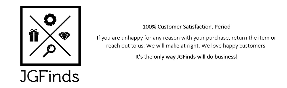 Banner with JGFinds logo and satisfaction message