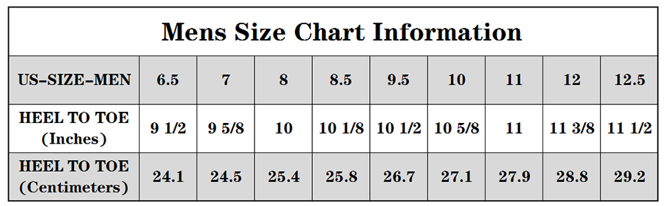 mens sneakers size chart