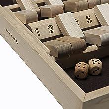wooden shut the box felt surface dice