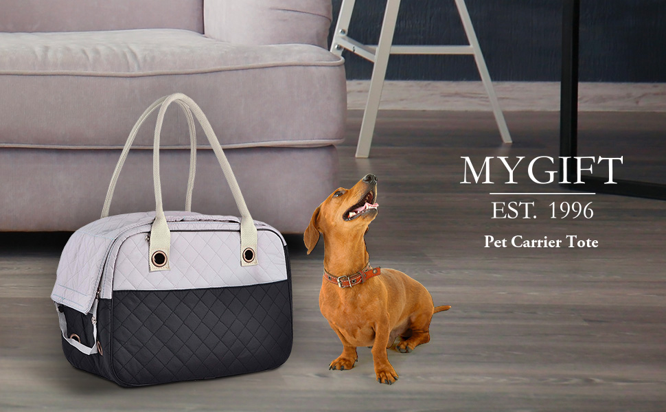 Collection Stylish 2 Tone Quilted Soft Sided Travel Dog and Cat Pet Carrier Tote Hand Bag