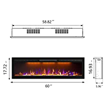 in wall recessed electric fireplace