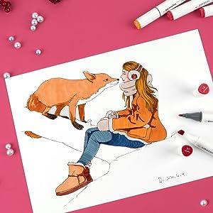 zur Illustration Gestaltung LIGHTWISH 168 Farbmarkierungsstift Skizze Anime und F/ärbung Set auf Alkoholbasis