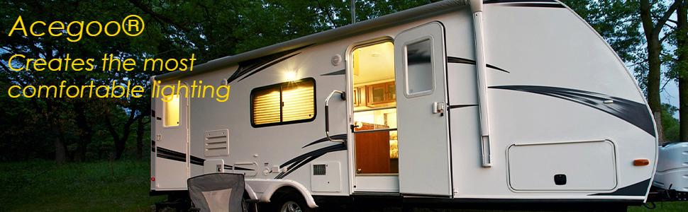 RV boat motorhome camper travel trailer interior 12v LED lighting and dimmer switch