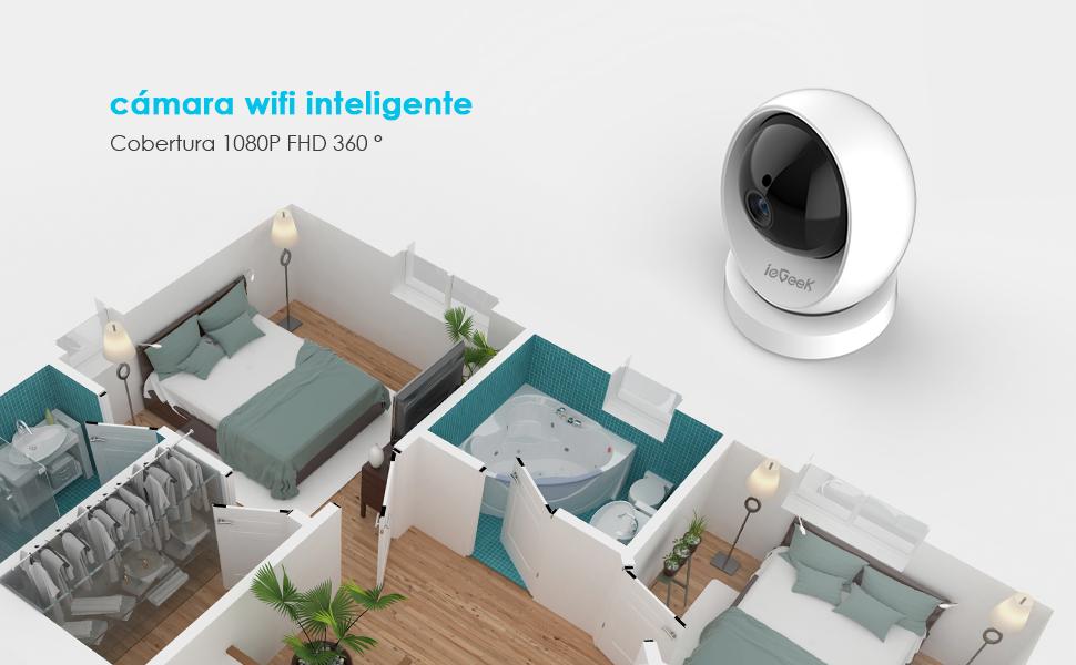 cámara wifi inteligente Cobertura 1080P FHD 360 °