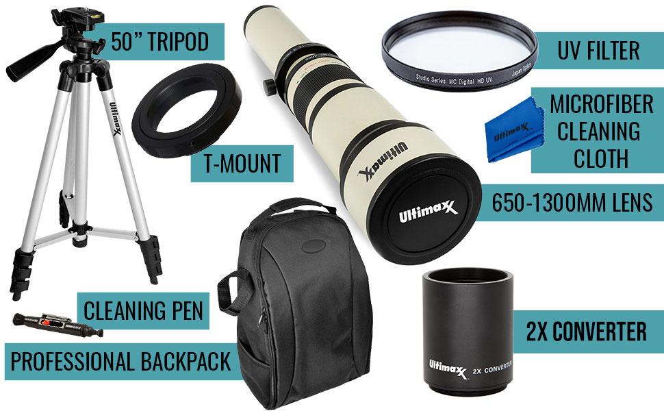 Ultimaxx 650-1300mm (w/ 2x-- 1300-2600mm) Telephoto Zoom Lens Kit for Nikon D7500, D500, D600