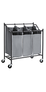 Amazon Com Songmics 4 Bag Rolling Laundry Sorter With