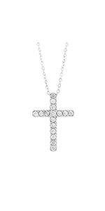 Round Diamond Cross Pendant