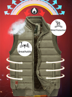 Men's Winter Warm Outdoor Padded Puffer Vest Thick Fleece Lined Sleeveless Jacket